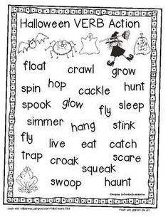 Free - Halloween Verb Action - repinned by @PediaStaff – Please Visit ht.ly/63sNt for all our ped therapy, school psych, school nursing & special ed pin