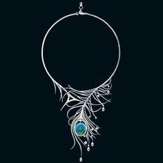 Necklace | Boodles. 'Wonderland India Blue'.  Opal, briolette and brilliant-cut diamonds in platinum*