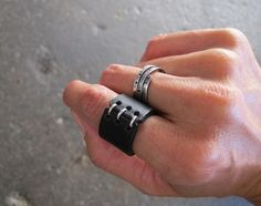 Black Leather Ring with Red Stitching by NoeOsadaDesign on Etsy