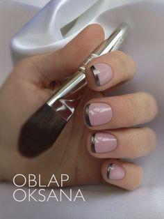 Dark metallic french tipped shellac nails.. ADORE for Fall!! | Fashion Darling