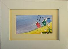 Beach Huts Original Watercolour Framed Painting of by FrancesArt, £12.00