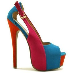 blue & red peeptoe pumps