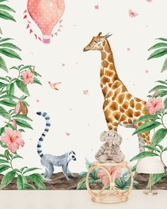 Playful design for childrens bedroom with a Giraffe, plants and other animals. If you are looking for a great idea look at our Creative Lab Amsterdam Wallpapers Amsterdam Wallpaper, Creative Labs, Kids Wallpaper, Girls Dream, Designer Wallpaper, Heavy Metal, Wall Murals, Baby Room, Giraffe