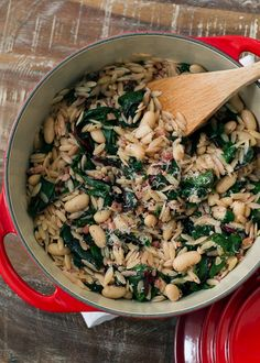 Swiss Chard with Orzo, Cannelini Beans and Pancetta | www.kitchenconfidante.com | Eat your greens -- this ultimate one pot meal or side dish has greens, beans, pasta and bacon, all in one!  @FiberOne @SheKnows #BringBackDessert #skexperts