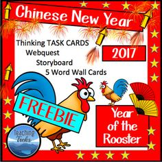 Chinese New Year freebie contains the following printable activities: a webquest, two fun thinking trek task cards, a Legend of Nian storyboard and Chinese New Year vocabulary on 5 Word Cards. The cards are suitable for Word Walls and associated learning activities.2017 is the Year of the Rooster!Visit  www.treksntrails.info  to find a Chinese New Year pathfinder for kids.The freebie comes from my Chinese New Year Teaching Trek, which contains Thinking Treks - 24 thinking task cards and a…