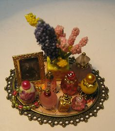 Dollhouse Miniature Vanity Tray with Pink Yellow Perfumes Flowers Necklace | eBay
