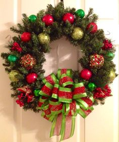 Christmas+Wreathlime+green+and+red+by+Enywear+on+Etsy,+$63.50