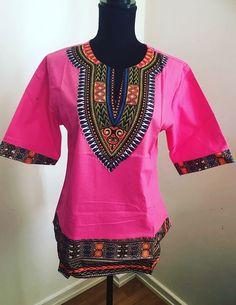 Pink dashiki shirt top
