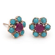 Blossom Stud Earrings - Ruby and Turquoise – Arik Kastan Rose Gold