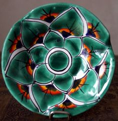 Vintage Hand Painted Talavera Puebla Mexican Pottery Small BOWL ,Green Peacock Design
