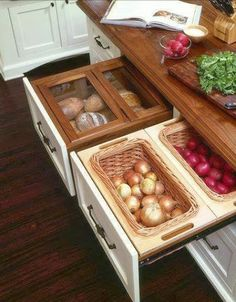 Kitchen organization, interior design. Storage for vegetables and fruits that don't need to be refrigerated.
