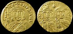 Byzantine Empire. Constantine V with Leo IV, 751-775 AD. Gold Solidus, Constantinople mint. This shows the flattening of form and image even though it is depicted on a coin, it is very stereotypical of the Byzantine style.