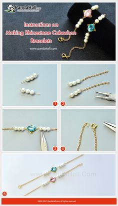How to Make Rhinestone Cabochon Bracelets The bracelet is made of acrylic rhinestone cabochons and glass pearl beads. Though easy to make, it looks very gorgeous! Wire Wrapped Jewelry, Wire Jewelry, Jewelry Crafts, Jewellery, Handmade Bracelets, Handcrafted Jewelry, Beaded Bracelets, Jewelry Making Tutorials, Jewelry Making Beads