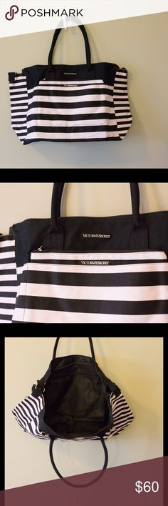 NWT VS tote Victoria's secret tote bag. Black and pink stripes, with 3 large pockets as shown. Also has handles and an over the shoulder strap. Taken out of the plastic bag to be photographed and measured. Measures 13x8x19 inches (heightxwidthxlength) Victoria's Secret Bags Totes
