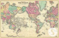 - DESCRIPTION - SPECS 1856 Colton's Map of the World Swag Paper's vintage map…
