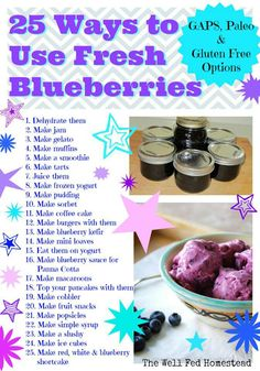 25 ways to use blueberries. Blueberries are some of my faves!