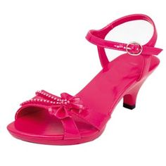 Great looking fashion girls high heel shoes for party, pageant, and dress up. Fuchsia high heels with rhinestones and a bow are what every little girl needs. Girls High Heel Shoes, High Heels For Kids, Hot High Heels, Kid Shoes, High Heel Boots, Cute Shoes, Me Too Shoes, Heeled Boots, Shoes Heels