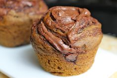 """Self-Frosting Pumpkin Nutella Muffins. I've heard of these """"self-frosting"""" muffins before and have to try them. Just Desserts, Delicious Desserts, Dessert Recipes, Yummy Food, Tasty, Nutella Muffins, Nutella Cupcakes, Pumpkin Cupcakes, Yummy Treats"""