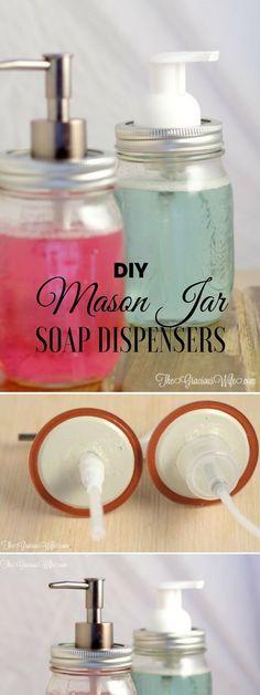 Check out the tutorial #DIY Mason Jar Soap Dispensers #HomeDecorIdeas #MasonJarCrafts #BathroomDesign @istandarddesign