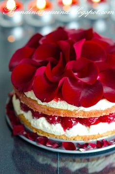 Major Wow factor! Pierre Hermé's Suprême aus Rosenblüten.  An exquisite torte: A génoise with fresh raspberries, apple gelée, & fresh deep-red rose petals. The recipe calls for both rose water & rose syrup, viz., a rose petal-infused sugar syrup.
