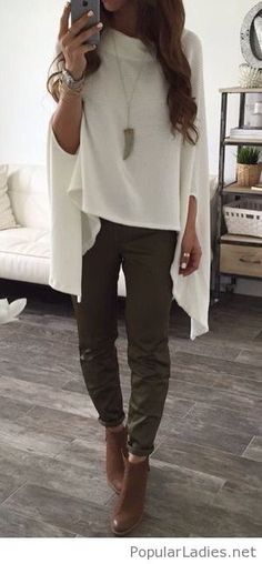 olive-pants-brown-boots-and-white-blouse-cape