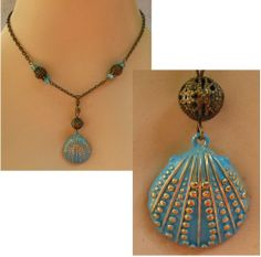 Burnished Gold  Blue Seashell Pendant Necklace Jewelry Handmade  Accessories  #Handmade #Chain http://www.ebay.com/itm/Burnished-Gold-amp-Blue-Seashell-Pendant-Necklace-Jewelry-Handmade-Accessories-/151408474557?