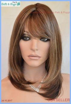 Skin Top Medium Length Wig Beveled layers w/Bangs Color SH24.8 Blond USA Seller #JM #Bangs