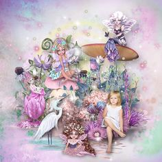 Ma page réalisée avec le kit A MAGICAL GARDEN de KittyScrap Photo rak Dimeda