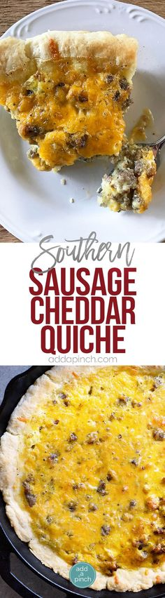 Southern Sausage Cheddar Quiche Recipe - This Southern Sausage Cheddar Quiche recipe makes a quick and easy breakfast recipe. Ready and on the table in 30 minutes, it is a Southern update to a classic! // addapinch.com