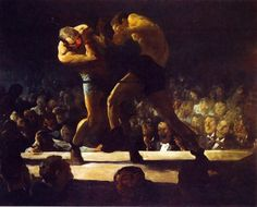 "beautynorder:  Club Night, George Bellows, 1907. This wonderful work is also known as ""Stag Night at Starkey's"" and is an early work of the American Master. Bellows was born in Ohio and moved to New York City at the age of 25. He became associated with the Ashcan School which advocated the painting of contemporary urban life. He died in  1925."