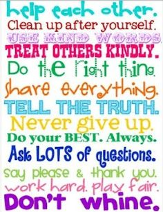 The rules of our household :)!