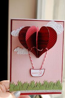 cool Valentines Day air balloon handmade greeting card. Want to give this to my boyfriend.
