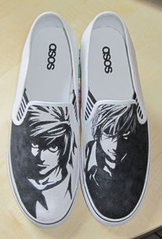 Death Note - 'L And Kira' Custom Shoes :D by Simone93.deviantart.com on @deviantART