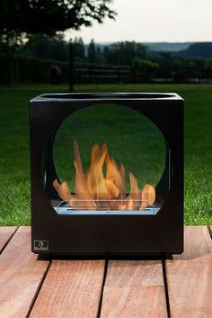 This is a free standing table fireplace that can be placed on the table or any stable surface. No chimney! No gas! No smoke! This fireplace uses bio-ethanol fuel to provide you refined warmth and bring you the joy of a real flame in your indoor or outdoor living space.