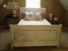 Painted Sleigh Bed.  Annie Sloan Chalk Paint.  Old White.
