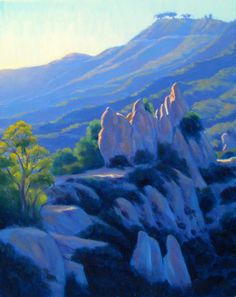 Landscape Painting in OIl Guardians of Castro Crest by ElenaRoche, $630.00