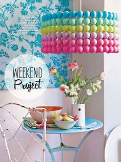 First, buy ping pong balls at the nearest dollar store, then spray balls in groups using a different color for each group (might be nice to do with an ombre effect too). They used 30 balls per group (6 rows) for a total of 180 balls for a 45 cm diameter shade. Drill a small hole with the needle into…
