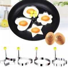 Stainless Steel Fried Egg Shaper Pancake Mould Mold Kitchen Cooking Tools breakfast tool supply www. Cooking Tools, Cooking Utensils, Cooking Gadgets, Griddle Grill, Egg Molds, No Egg Pancakes, How To Make Pancakes