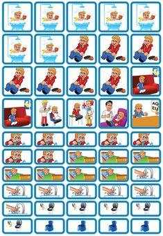 Themasetje Verzorging & Slapen is een set van 50 magnetische planbord pictogrammen met dagelijkse rituelen zoals o.a. tanden poetsen, bad en toilet.