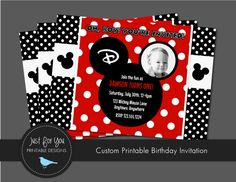 Mickey Mouse Invitation  Classic Red and por 4UPrintableDesigns, $12.00