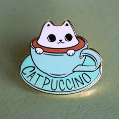 Catpuccino for here Hard Enamel Lapel Pin by LindaPanda on Etsy