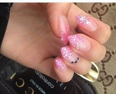 Pink gel nails with glitter