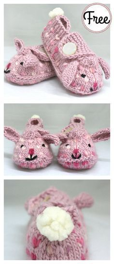 Bunny Hop Thrummed Bunny Slippers Free Knitting Pattern