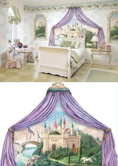 If I ever have a little girl what a great bedroom idea.