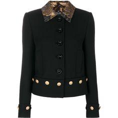 Dolce & Gabbana brocade collar jacket ($3,120) ❤ liked on Polyvore featuring outerwear, jackets, black, long sleeve jacket, embellished jacket, perforated jacket and dolce gabbana jacket