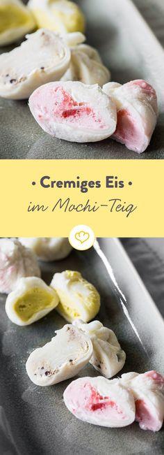 Cremiges Eis in japanischem Mochi-Teig Vegan Cake vegan cake konditor and cook Sushi Recipes, Tea Recipes, Asian Recipes, Sweet Recipes, Dessert Sushi, Cake Vegan, Raw Cake, Tea Cakes, Candy Sushi Rolls