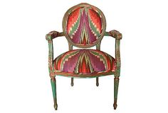French Louis XVI Bergere Upholstered Ikat por THRONEupholstery
