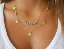 Unique Jewelry - New Fashion Jewelry Lady Turquoise Pendant Chain Chunky Statement Bib Necklace A