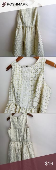 Xhilaration White & Gold Dress This dress is SO beautiful 😍 Cream-ivory lace with gold design... Lace detailing across the front... zips down the back... sleeveless... lined... in excellent condition... would be perfect for a bridal shower or a bride's rehearsal dinner Xhilaration Dresses Mini