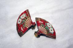 Vintage Red Japanese Fan Clip On Earrings by IntoTheWardrobe, $3.00